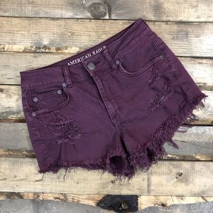 AEO Plum High Waisted Distressed Cut-offs